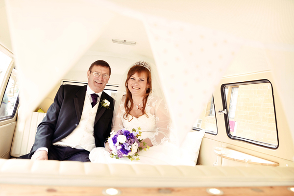 bride and father of the bride in campervan, adam watts photography