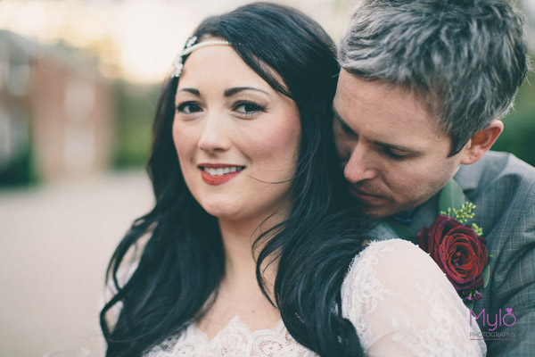 bride and groom, flo and percy headpiece, mylo photography