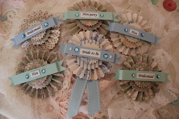 Hen Party Rosette Badges,  vintage hen house, vintage inspired hen parties, in association with whimsical wishes