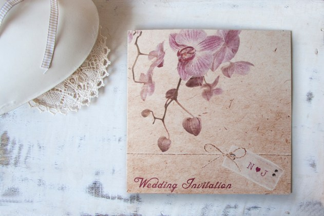 Vintage Orchid invitation, Wedding Stationery, Tree of Hearts