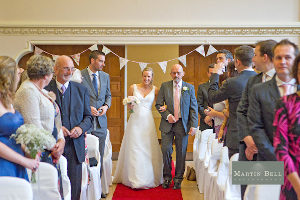 Winchester wedding photography, Martin Bell Photography, bride and father of the bride processional