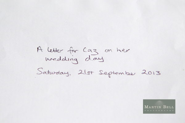 Winchester wedding photography, Martin Bell Photography, personal letter
