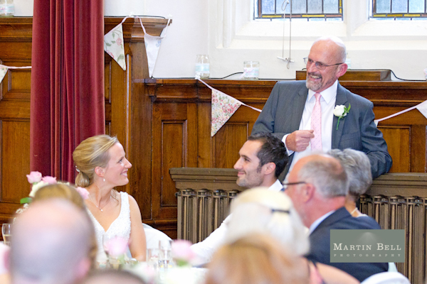 father of the bride speech, bunting, Winchester wedding photography, Martin Bell Photography,