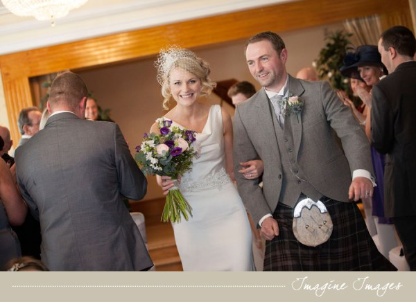 bride and groom recessional, imagine images, lochgreen house