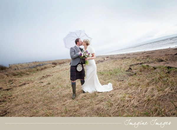 bride and groom, beach, lochgreen house, imagine images