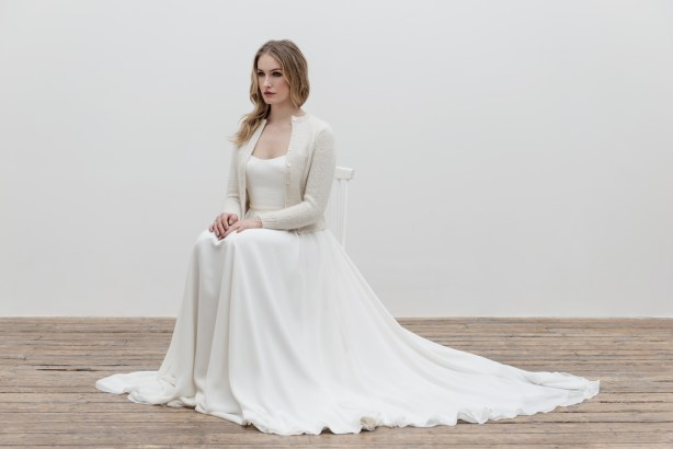 florence dress, cashmere cardigan, Andrea Hawkes Bridal,  imagery owen richards photography