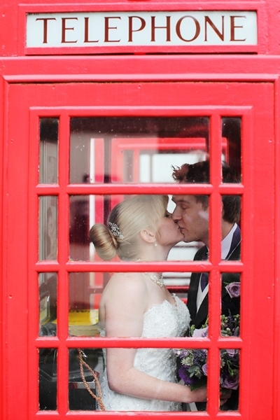 bride and groom, red telephone box, david perkins wedding photography