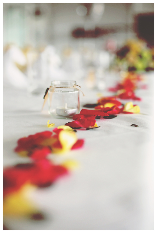 scattered petals, wedding tables, olivia whitbread roberts photography