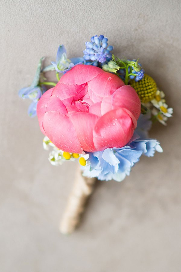pastel brights buttonhol, hearts and flowers denton, georgina harrison photography