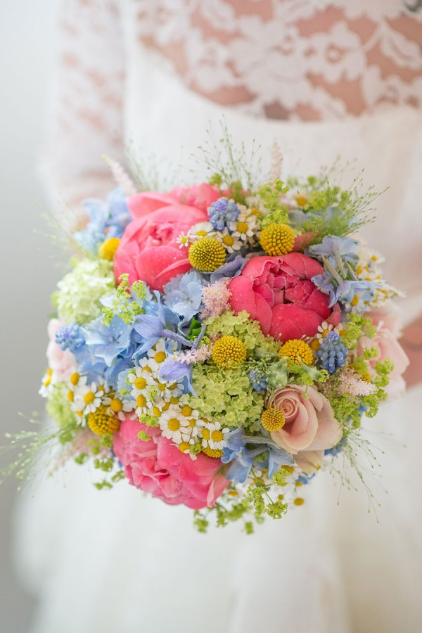 pastel brights bridal bouquet, hearts and flowers denton, georgina harrison photo