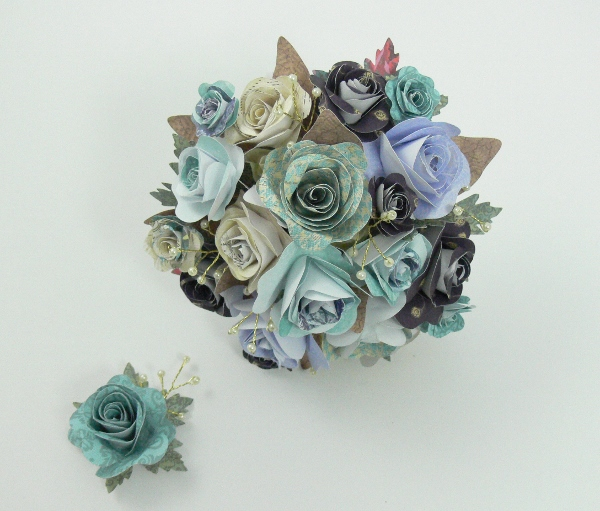 Ice blue, paper bridal flowers, jackdaw decor