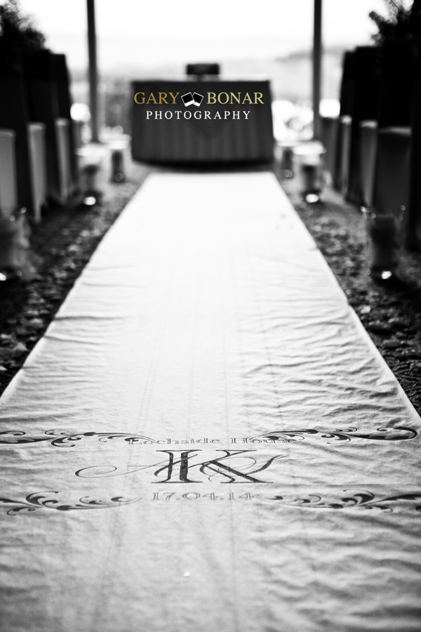 personalised wedding aisle runner, lochside house hotel, gary bonar photo