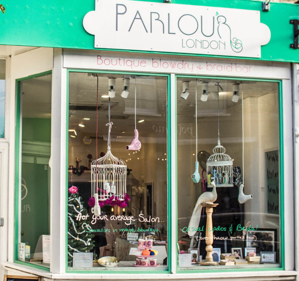 outside shop, The parlour London, bridal hair, vintage hair, braids, blow drys