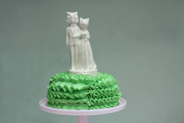 owl and the pussycat cake topper, wedding decor, party paraphenalia, pea green boat