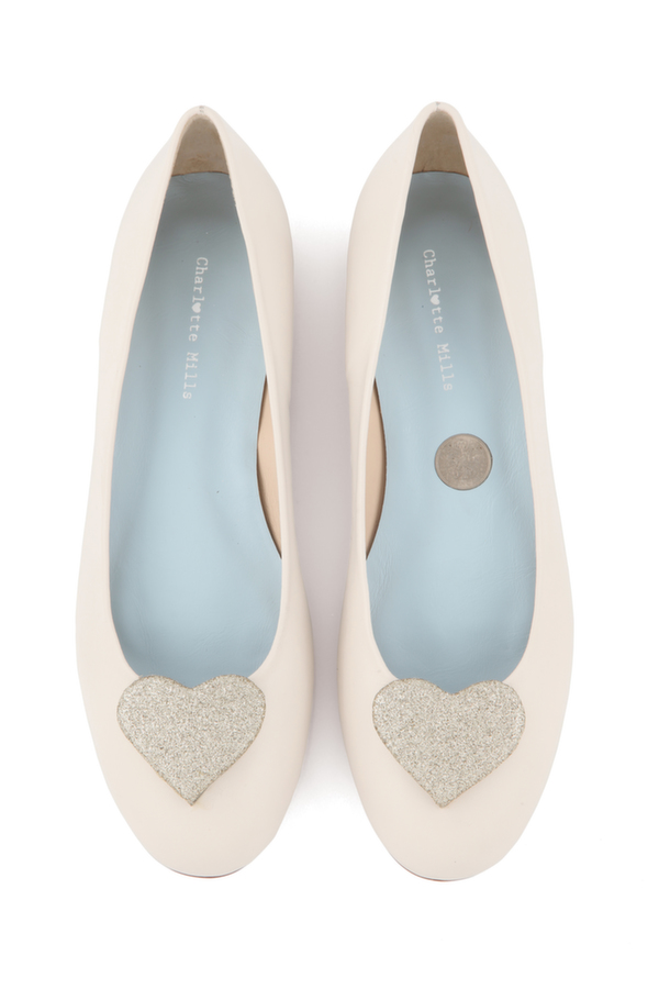 Anabel with gold heart, charlotte mills bridal, wedding shoe, bridal shoe, bridal footwear