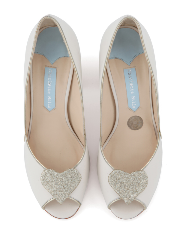 wedding shoe, bridal footwear,  Bridal Shoe, charlotte mills bridal, Andrea with gold heart