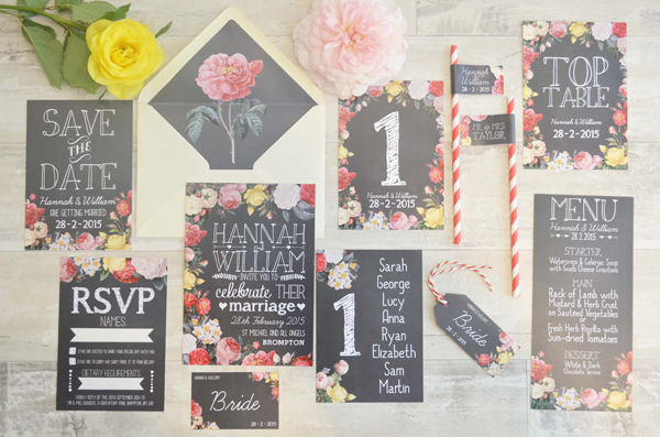 Floral Chalkboard design, swoon at the moon, wedding stationery