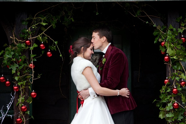 Bride & Groom at The Summerhouse Kissing