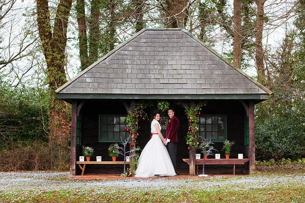 Bride & Groom at The Summerhouse in Ceremony Pose