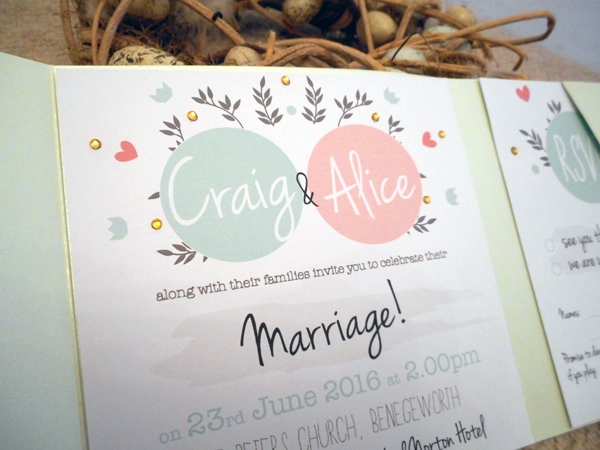 Floral mint_coral, clink design, wedding stationery