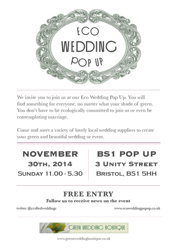 eco wedding pop up, bristol, November 30th 2014, ethically designed weddings, eco weddings, green weddings, green wedding boutique