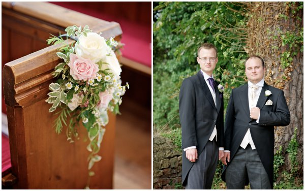 pink floral pew end, alexander leaman photography , rustic wedding, barn wedding, gate street barn surrey, pastel florals