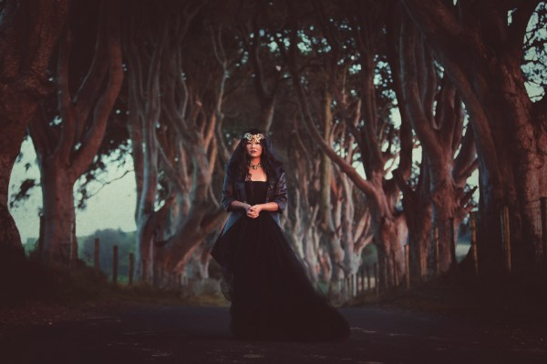alternative bride, gothic bride, woman in black, Photographer: Sarah Ann Wright Photography , Model: Twig UK Model,  Clothing: Louise O'Mahony (Louise O'Mahony Couture Wear & Oh My Honey) , Headpiece: Samantha Walden , Jewellery: Rosie Weisencrantz