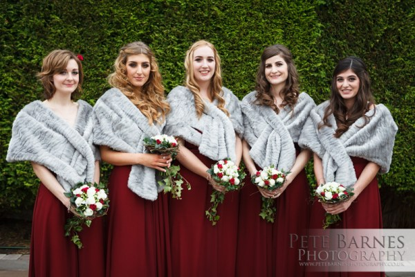 Wedding Photography at Abbeywood Estate, pete barnes photo, bridesmaids in red,  grey fur wraps, winter wedding