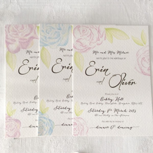 Watercolour 3 colours, Coral & Slate,  Bespoke prints, Wedding Stationery, Signage, Image Credit - Real Simple Photography