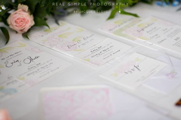 Watercolour Stationery, Coral & Slate, Bespoke prints, Wedding Stationery, Signage,  Image Credit - Real Simple Photography