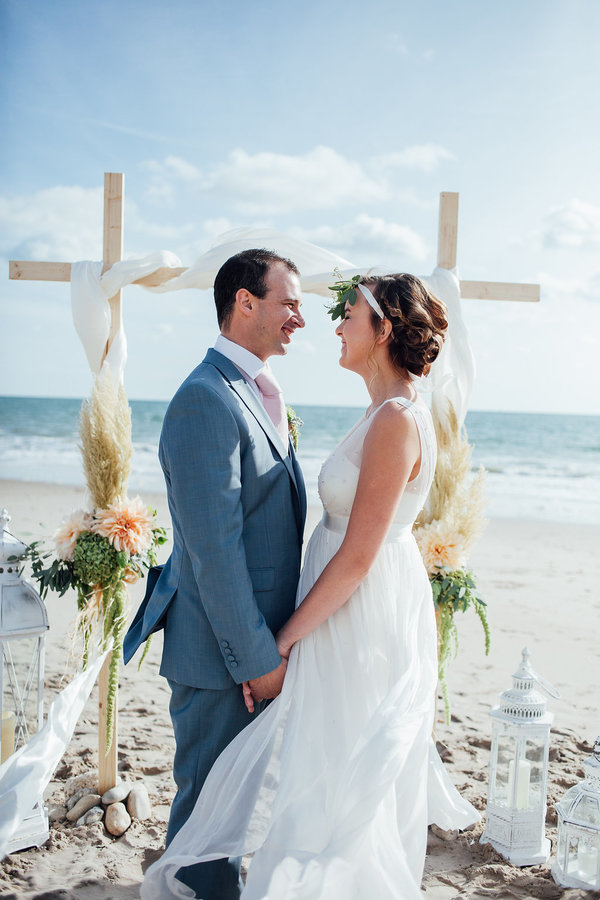 beach wedding, beach inspired wedding, highcliffe beach, highcliffe castle, styled shoot, beach styled shoot, collaborative styled shoot, Photographer: Charlotte Bryer-Ash ,  Event planner/stylist: Rachel Johnson - Exquisitely You,   Make up Artist: Nancy Mayne,   Hair: Toni Mckeown https://www.facebook.com/toni.mckeown  , Florist: Clair Lythgoe Wedding and Event Florist ,  Cake: Elmsleigh Cakes ,  Crockery and tableware: Swingletree Vintage China Hire,   Chair Hoods: Linen and Lace,   Suit Hire: Well Groomed ,  Models: Real couple Will and Mel