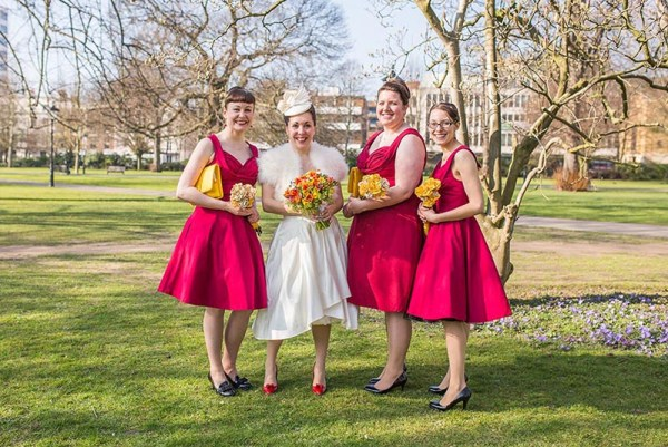 Lindy-Bop-Ophelia-Swing-red-bridesmaids-dresses, nick rutter photo