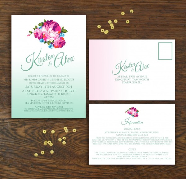 OMBRE, knots & kisses, wedding stationery