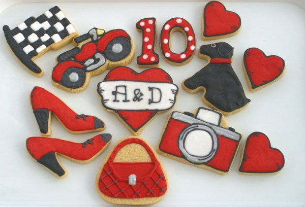 10th-anniversary-custom-cookie, wedding favour cookies, cookie kitchen, hand baked cookies, lincolnshire bakery, hand iced cookies, wedding cookies, celebration cookies