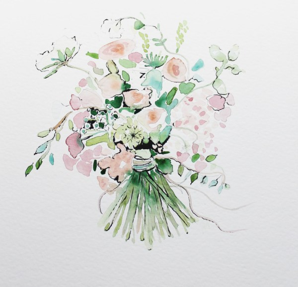 watercolour flowers, bridal portraits, live wedding paintings, watercolour wedding portraits, wedding paintings, live wedding painter, uk wedding blog, charlotte atkinson