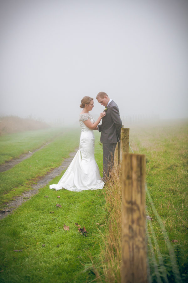 Upwaltham Barns Wedding | FitzGerald Photographic, winter wedding, foggy couples picture