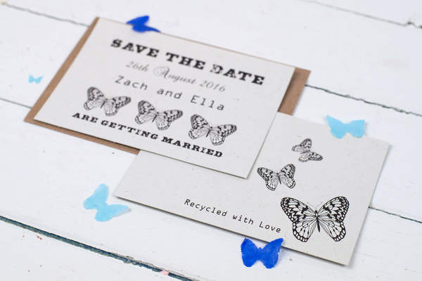 talk of the town parties, recycled wedding stationery