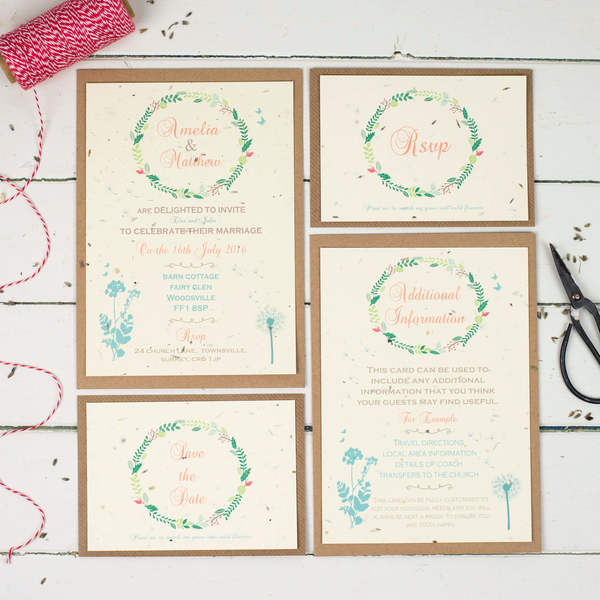 recycled wedding stationery, talk of the town parties