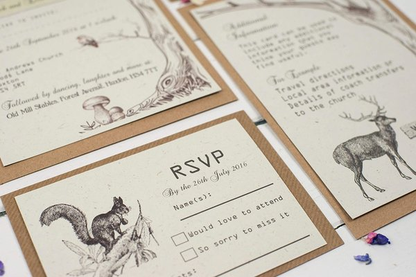 rustic_woodland collection, talk_of_the_town_parties, recycled wedding stationery,