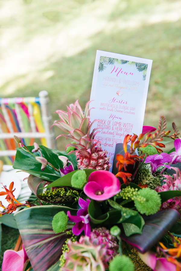 tropical wedding, tropical wedding styled shoot, stationery - swoon at the moon, centrepiece flowers - tarnia williams, hannah mcclune photo, stoke place