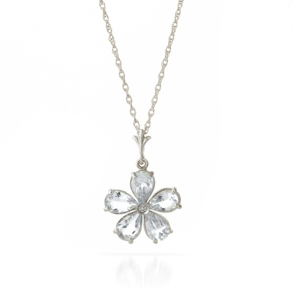 white-gold-flower-necklace-with-diamond-and-aquamarine-pendant, flowergirl, bridal-party-jewellery