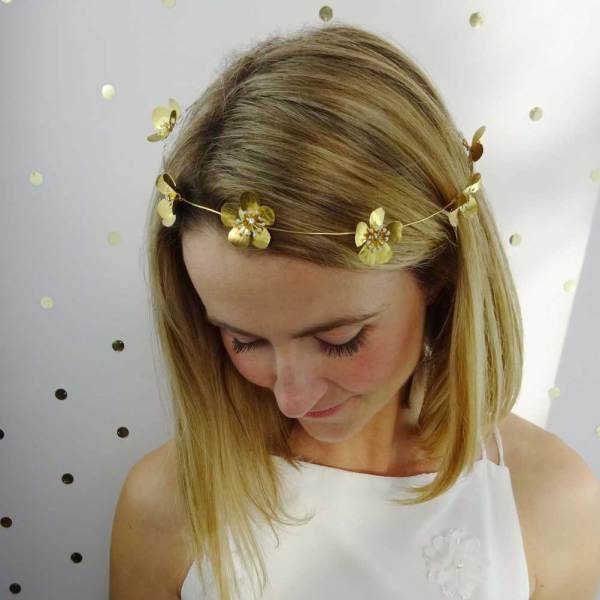 Astoria-Golden-Flower-Halo, Fifth-and-Spring, headpieces, bridal headpieces, bridal accessories