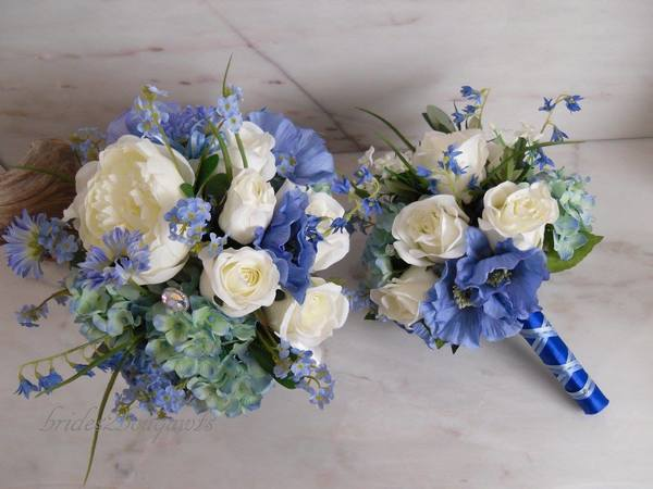 blue and white silk flowers, bride2bouquets, silk flowers, artificial flowers, bespoke silk flowers, wedding flowers, silk wedding flowers, silk flowers for events