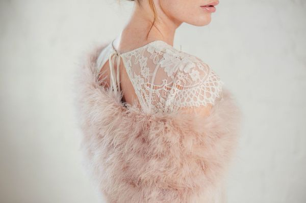 Blush pink feather bridal stole at Liberty in Love - £67