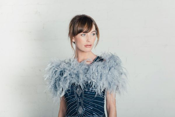 Grey ostrich feather bridal stole at Liberty in Love - £120