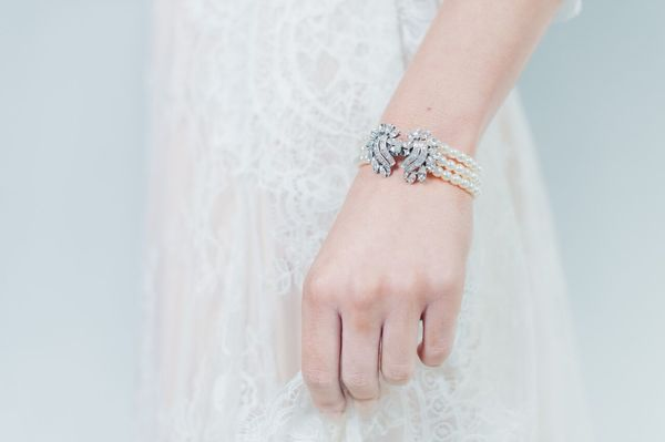 Pearl bracelet with rounded swirl crystal clusters by Ben-Amun - £170, wedding accessories, liberty in love