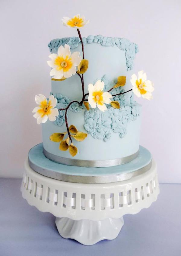 blue and daisy cake , morningside bakes, celebration cakes