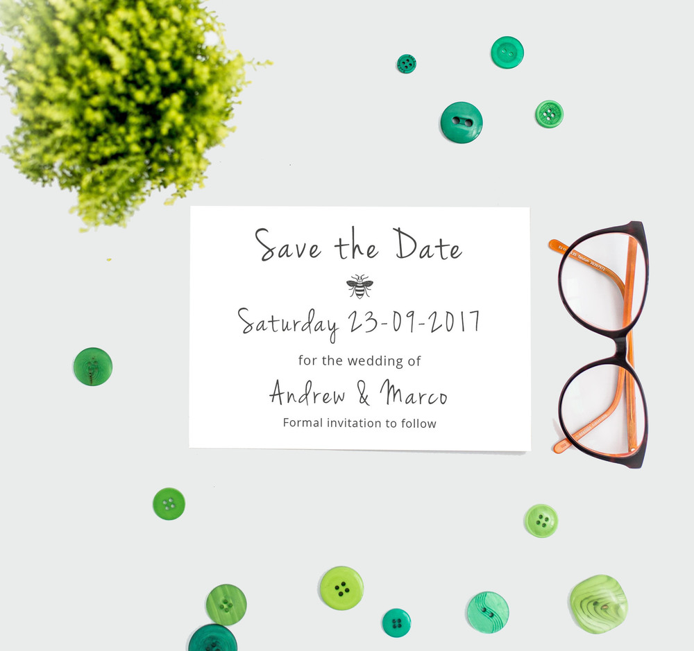 manchester-bee-save-the-date-a6-front, think good get hitched, wedding stationery