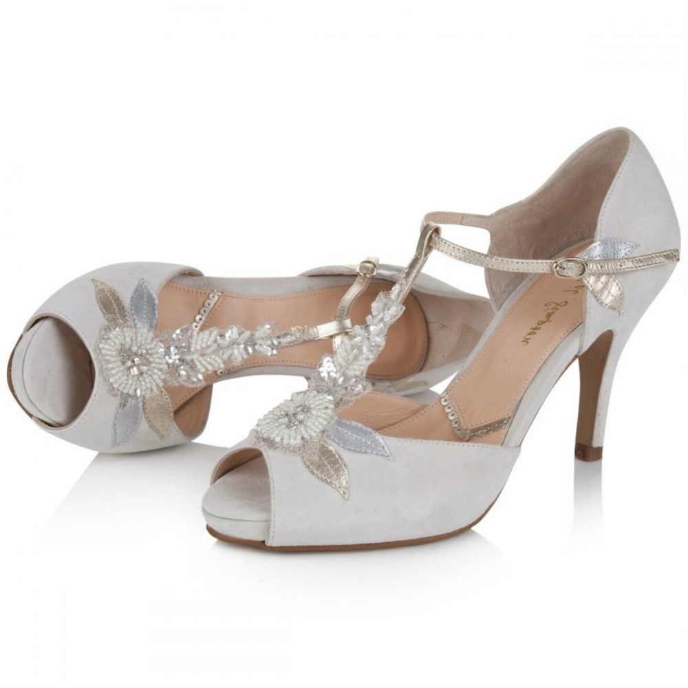 328a9b8a9c Hermione by Rachel Simpson Ivory Suede Embellished T-Bar Vintage Designer  Wedding or Occasion Shoes
