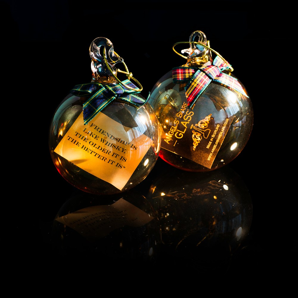 whisky gifts , angels share , scottish glassware , whisky christmas bauble